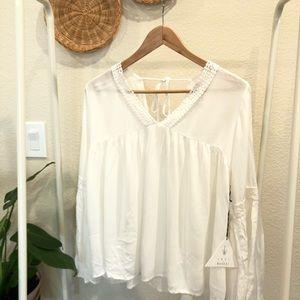 LW Lost + Wonder White boho lace blouse Size M